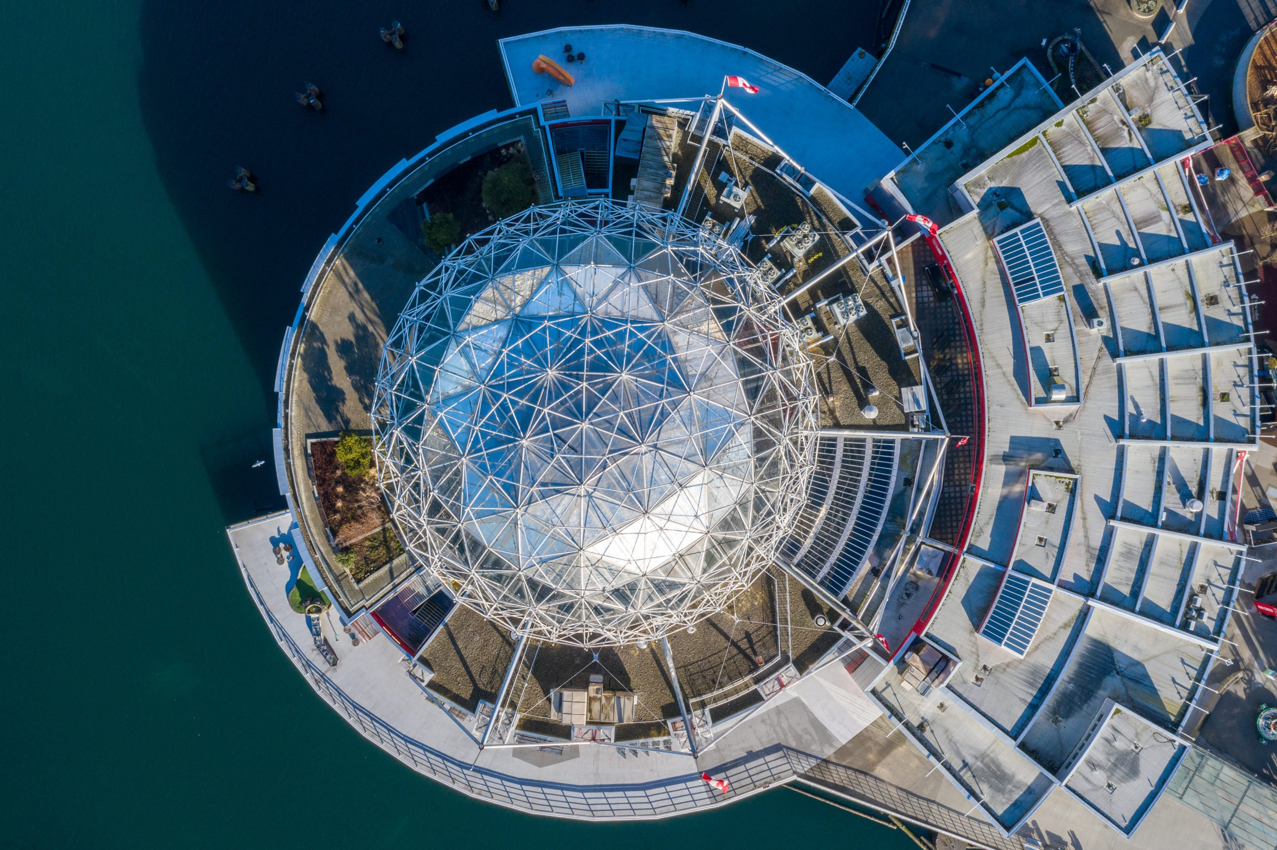 An aerial shot of Science World's geodesic dome
